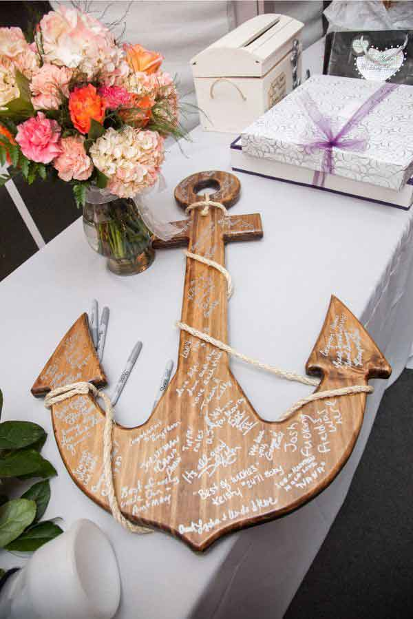 Heiraten Am Strand Hochzeit Am Strand Tischdeko Gastebuch Holz Anker